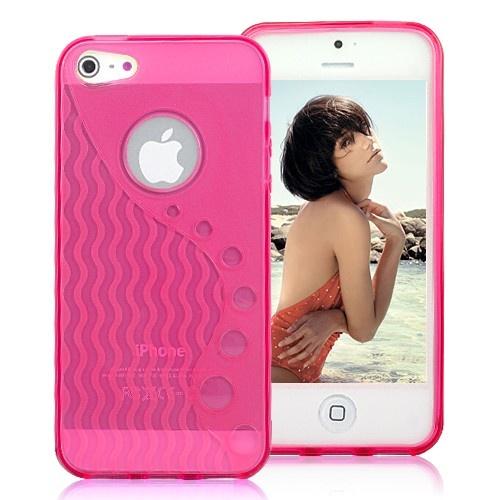 Stylish Wave-like Pattern Matte TPU Case For iPhone 5 - Transparent Magenta