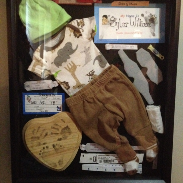 Baby Shadowbox with Coming Home Outfit and Hospital Things