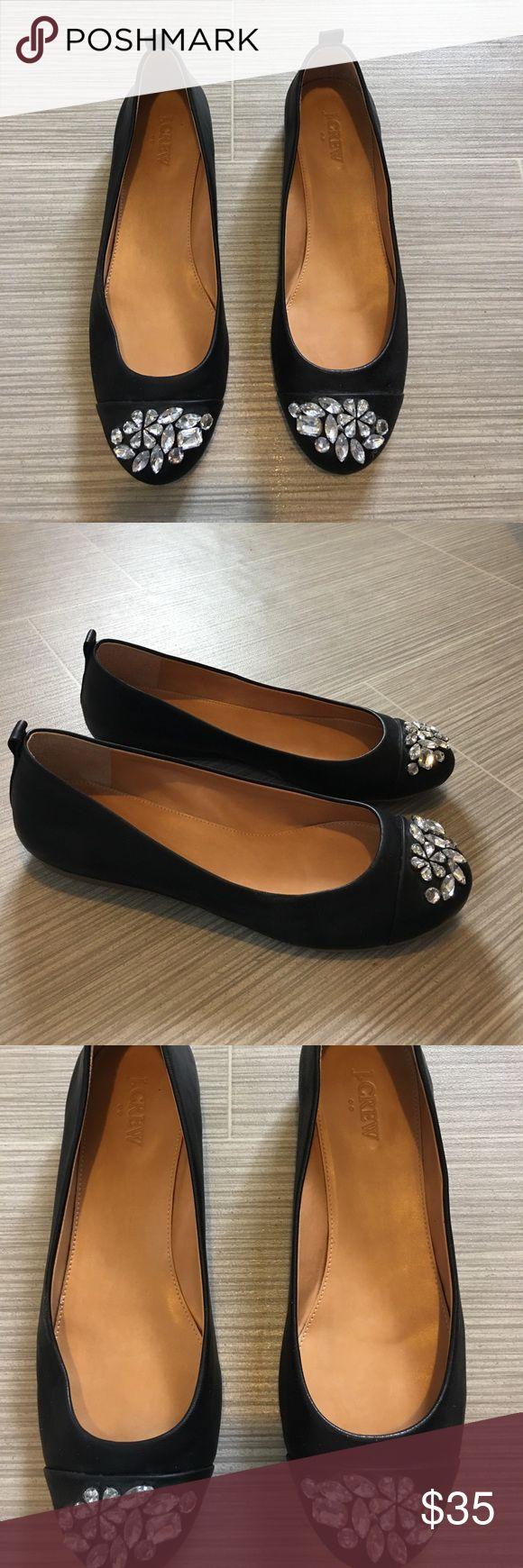 J. Crew black leather flats with crystals size 9 J. Crew black leather flats with crystals size 9. Perfect condition. J. Crew Shoes Flats & Loafers