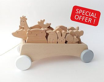 FREE SHIPPING - Wooden Pull Wagon + Set of 12 animals - Toddler toys - Learning toys - Waldorf inspired - Gifts for kids