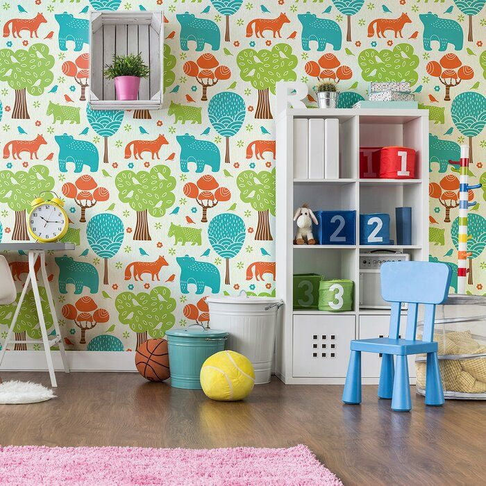 Waldrep Animals Baby Removable Peel And Stick Wallpaper Panel Wallpaper Panels Removable Wallpaper Traditional Wallpaper