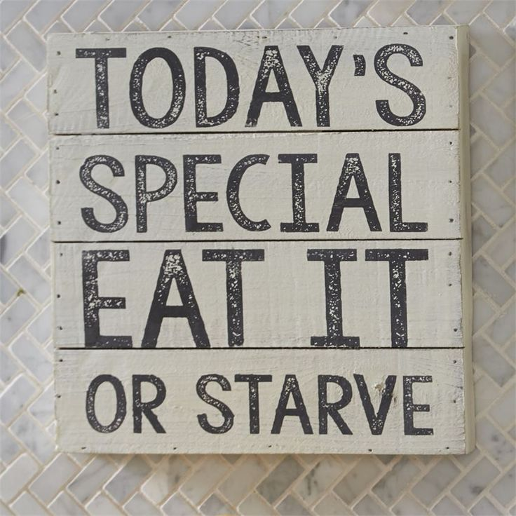 """Painted, distressed and planked 1 1/4"""" thick wood shadow-box style plaque features funny kitchen sentiments."""