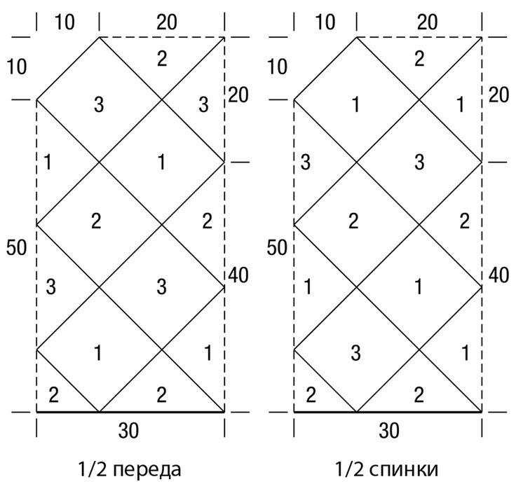 Пуловер из ажурных квадратов и треугольников