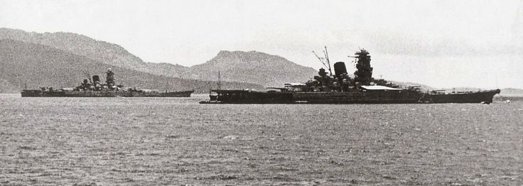 The largest battleships ever built, 72000 ton 18in super-battleships Musashi (furthest) and Yamato at Truk in 1943.  Both succumbed to air attack in 1944 and 1945 respectively, confirming the end of the big gun era.  Musashi was a few tons heavier.