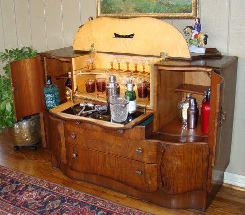 Antique Art Deco Pop Up MARTINI BAR LIQUOR CABINET