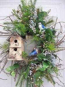 birdhouse floral arrangements | WinterSpring BirdhouseBlue Jays Floral Door Wreath & 13 best Birdhouse wreaths images on Pinterest | Birdhouses Bird ...