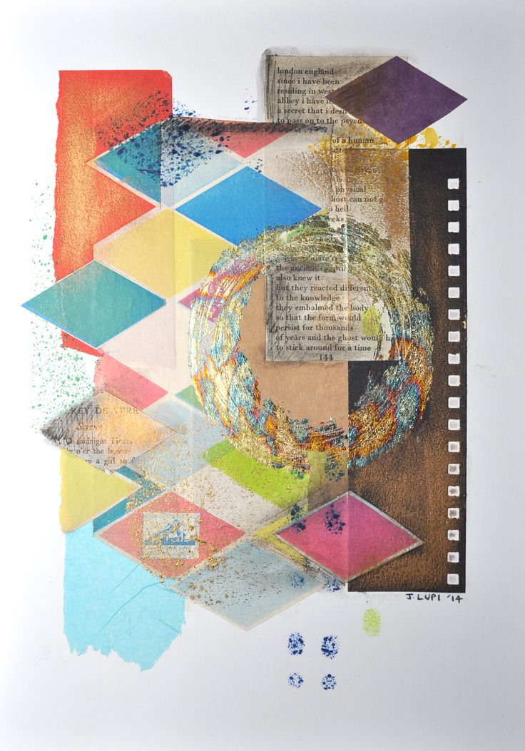 Collage - cut and paste - paper - book pages - ink - variegated copper leaf