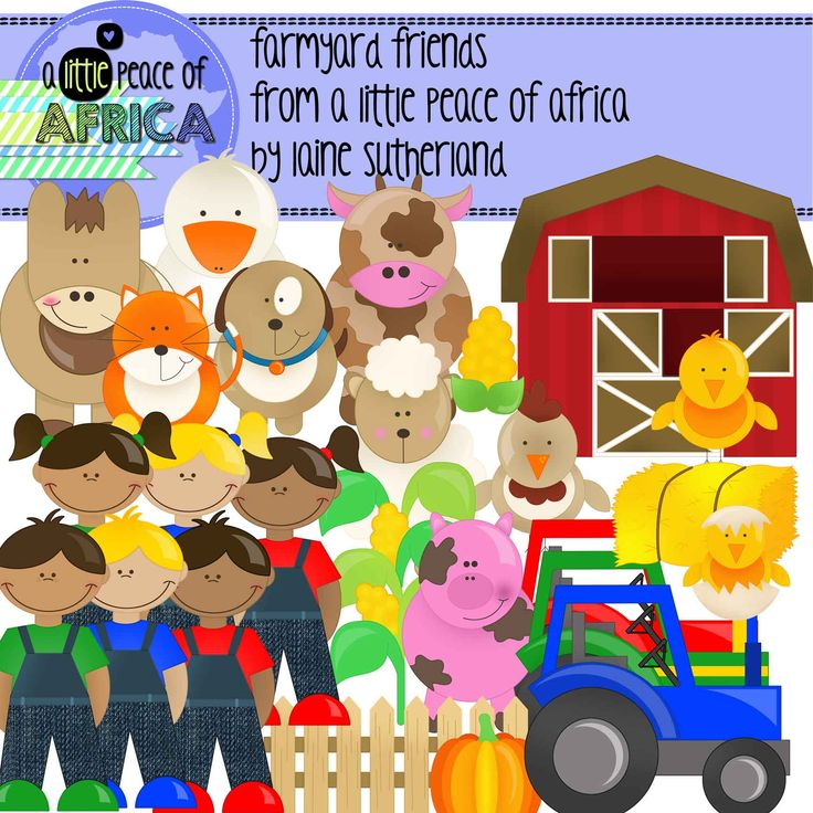 This set contains: 19 black and white images and 25 color images  Included are: 3 farm boys 3 farm girls 3 farm tractors (in matching colors) 1 barn Farm animals - duck, chicken, rooster, chick, sheep, cow, dog, cat, donkey, pig 1 hay bale 1 corn plant 1 single corn cob 1 picket fence 1 pumpkin