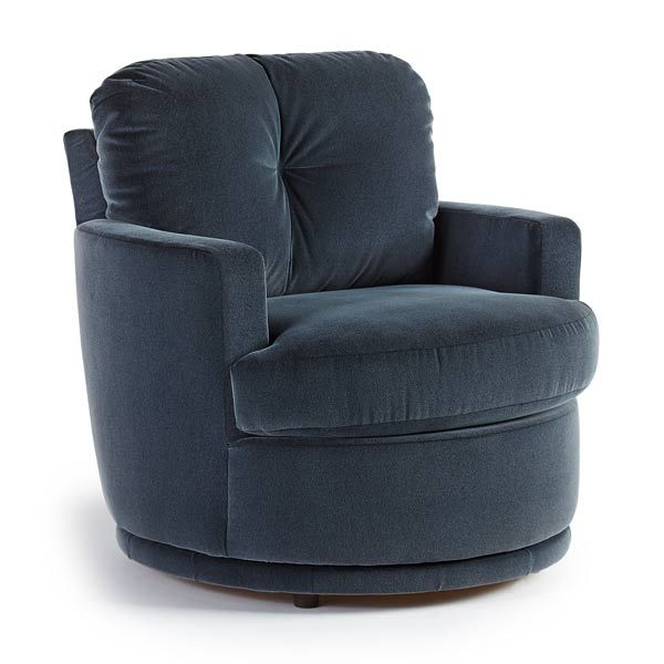 Swivel chair for the corner with a fun orange fabric.