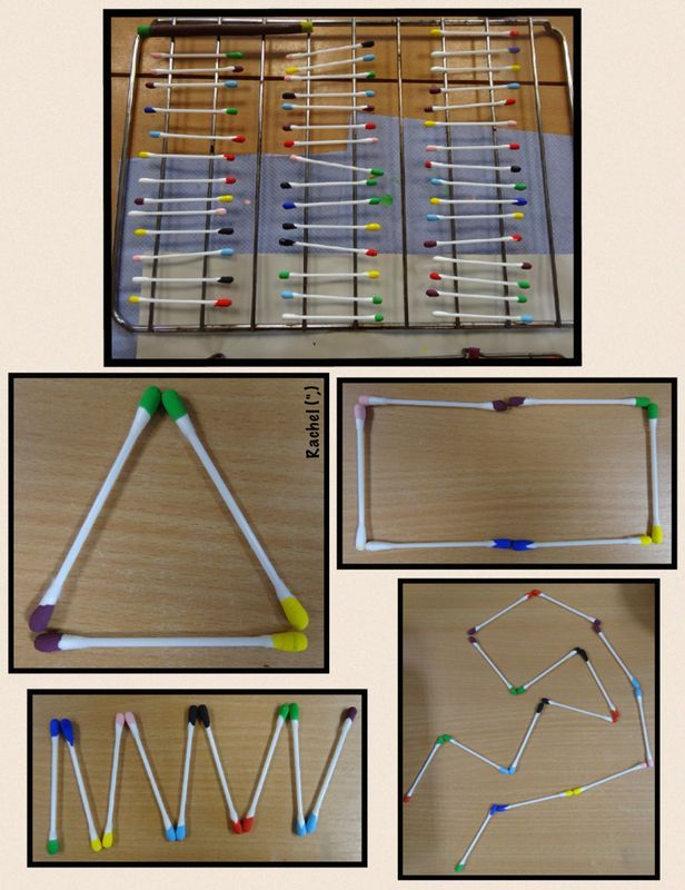 "Cotton buds dipped in paint & used for pattern-making, matching & shape activities - from Rachel ("",)"