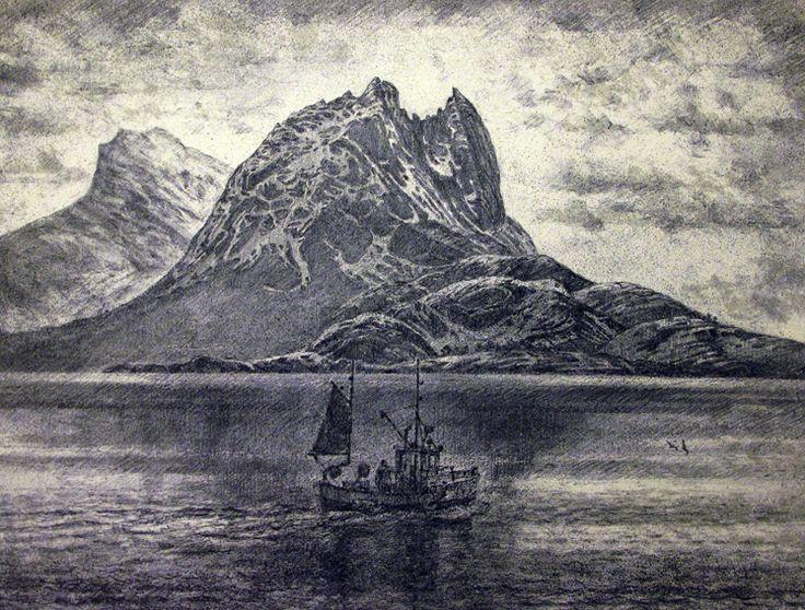 Karl Erik Harr Lithography Strandåtind