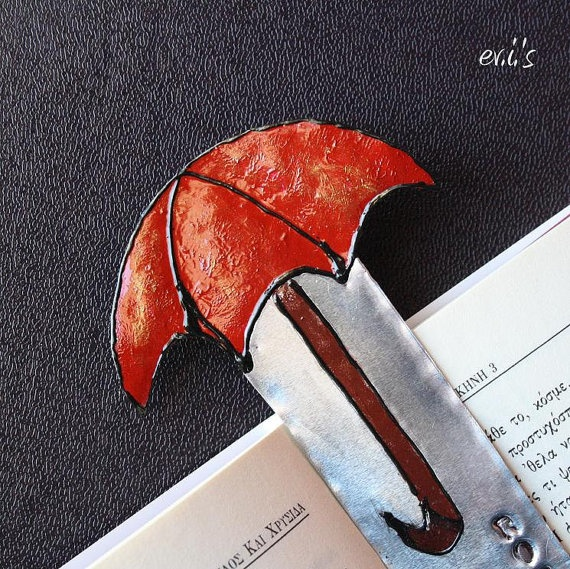 Hand Painted Red Umbrella Hand Stamped by EVIsMetalworkJewelry, €9.00