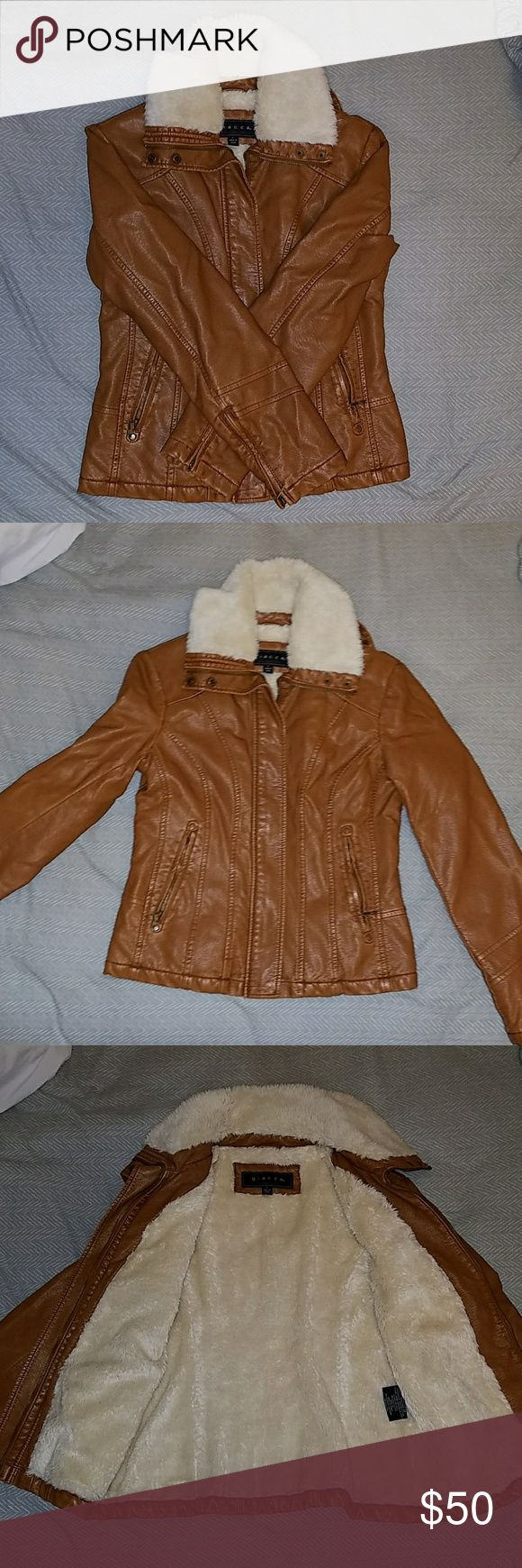 Leather and fur jacket Tan leather and white fur Jackets & Coats