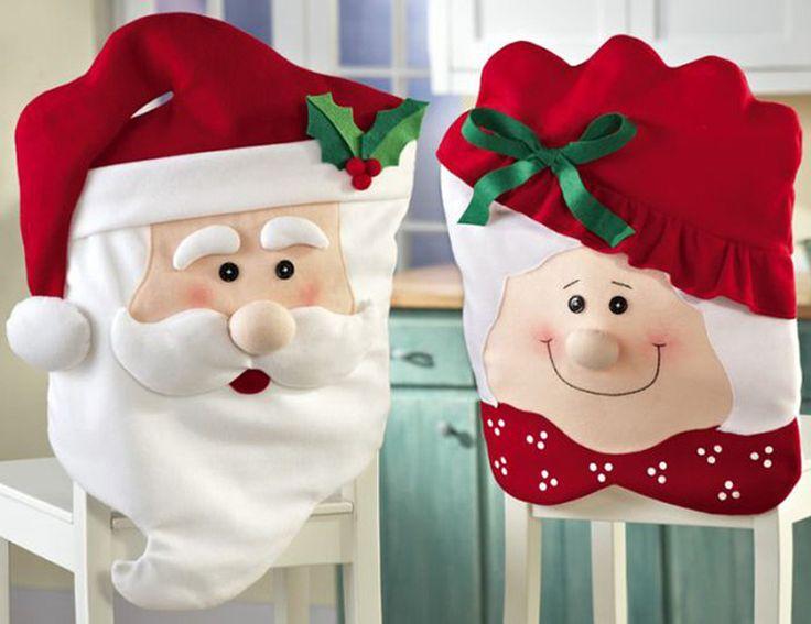 Capas de cadeira de Papai Noel e Mamãe Noel para decorar cadeiras no Natal. Escreva sua CartinhaaoPapaiNoel.com.br fundas sillas Papá Nöel
