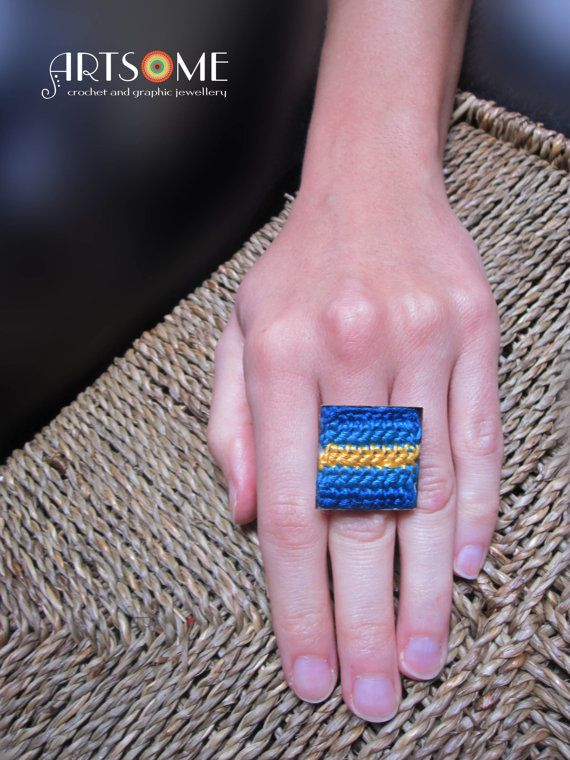 #Jewelry  #Rings  #Statementrings  #square  #vivid  #crochetedring  #decorativebigring  #boho  #handmade  #unique #artistic  #crochetedjewelry  #adjustablering  #oneofakind  #blue #turquoise  #striped