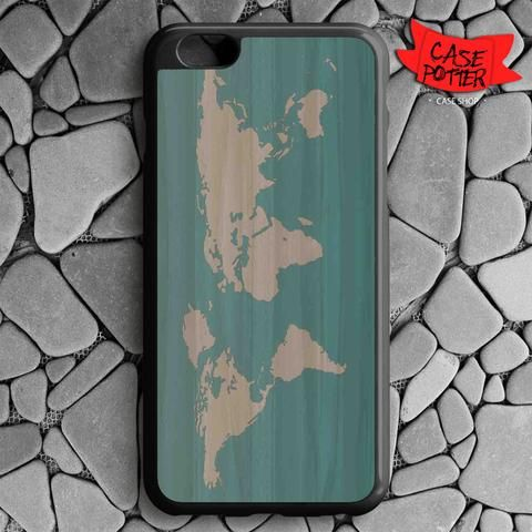 World Map Siluet iPhone 6 Plus iPhone 6S Plus Black Case