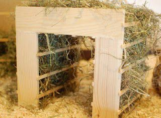 Bunny hay hut. Cool idea.