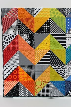 """Modern Baby Quilt """"Olivia"""" Contemporary Geometric Triangle Pattern in rainbow colors; Baby, Toddler, or Lap Quilt, Play Mat; Wall Hanging"""