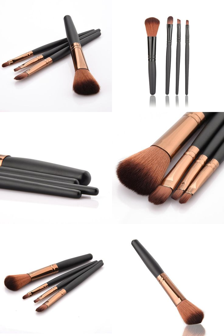 [Visit to Buy] 4pcs/set makeup brushes Professional  Eye Shadows Eyeliner Nose Smudge make up brushes  Foundation Cosmetic sets #Advertisement
