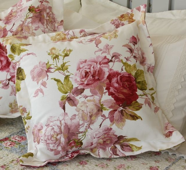 Pink floral print cushion