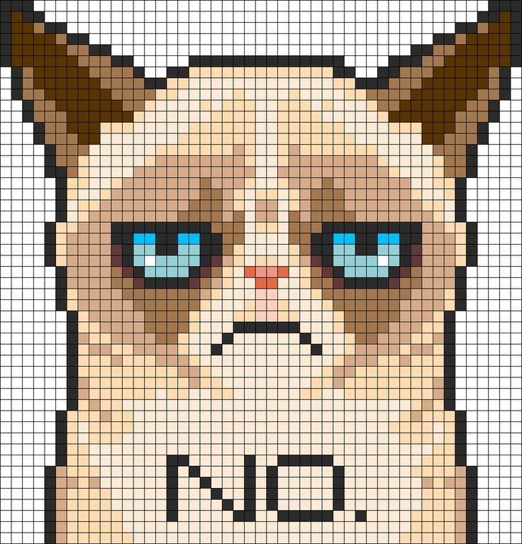 Grumpy Cat Perler Bead Pattern | Bead Sprites | Characters Fuse Bead Patterns