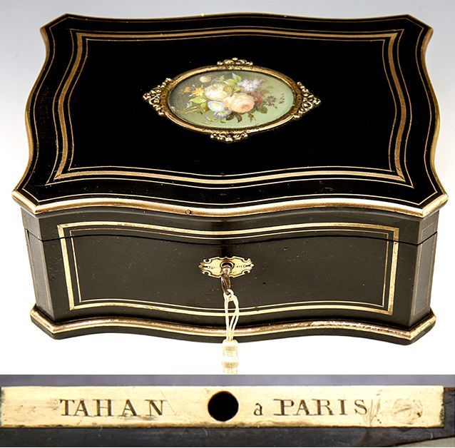 19th Century Antique French TAHAN Jewelry Chest, Boulle Box, HP Painting of Flowers
