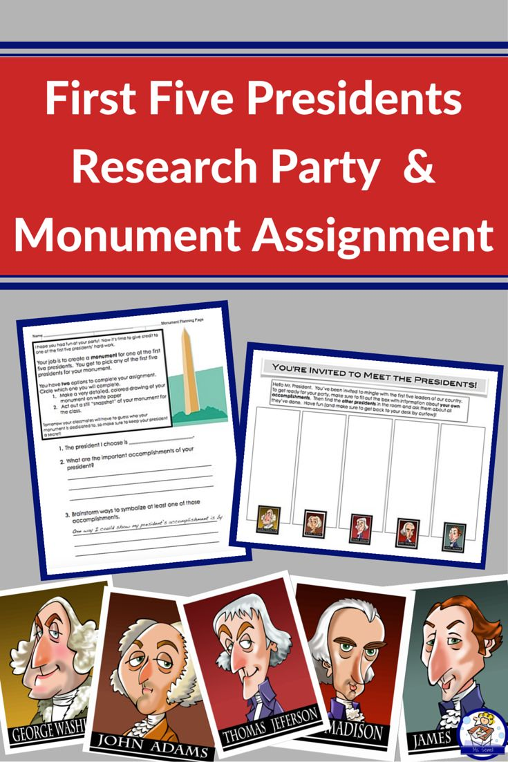 Want to bring the first five presidents to life in your classroom? This assignment is for you! Students will randomly choose one of the first five presidents to research, either using your classroom texts or helpful websites included in this packet. After researching and completing a graphic organizer, students will mix and mingle in your classroom, meeting the other 'presidents' and writing down important facts about them.