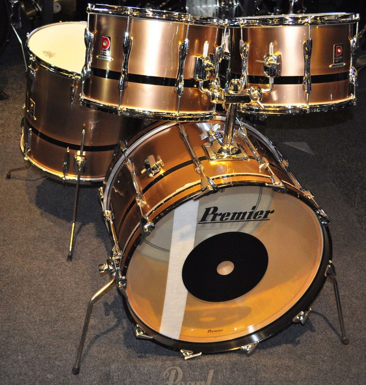 pre owned premier 1980 resonator shells in bronze with black band ebay drums drummers and. Black Bedroom Furniture Sets. Home Design Ideas