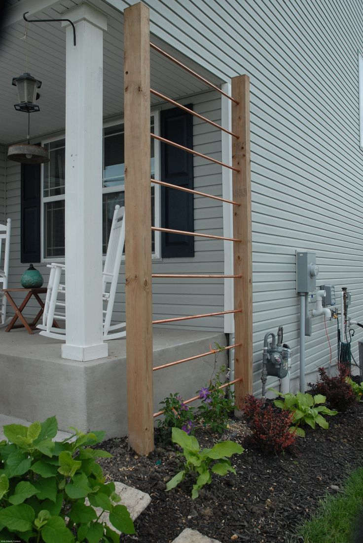 trellis with copper and wood