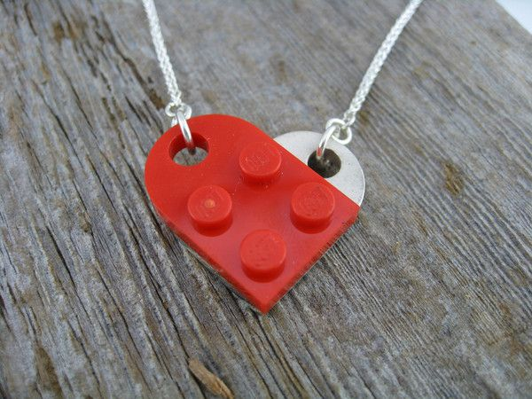sterling silver reverse engineered brick that works with lego and makes a heart.