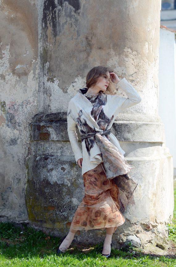 Eco printed nuno felt kimono jacket by Vilte & Irit by vilte, $849.00