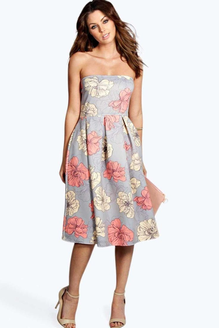 #FashionVault #boohoo #Sale #Women - Check this : boohoo Lucinda Floral Print Bandeau Midi Skater Dress - grey for $46 USD instead of $28 #OnSale