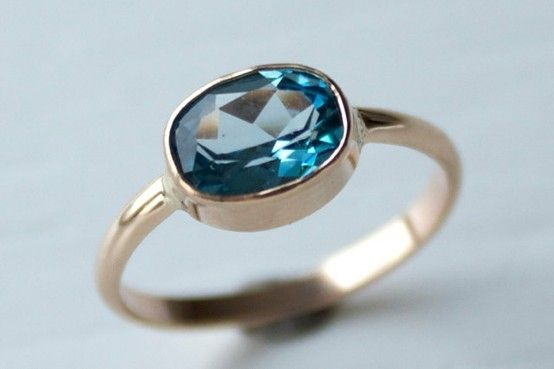 Swiss Blue Topaz Ring in Recycled 14k Gold by erinjanedesigns, $300.00 by wendy