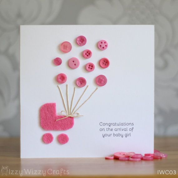 Pink Button Balloon New Baby Girl Card by IzzyWizzyCrafts on Etsy