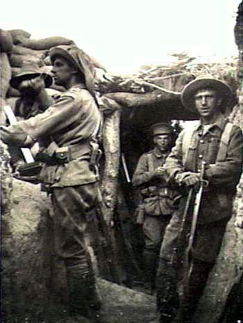ANZAC soldiers in a captured Turkish trench on Lone Pine, Gallipoli