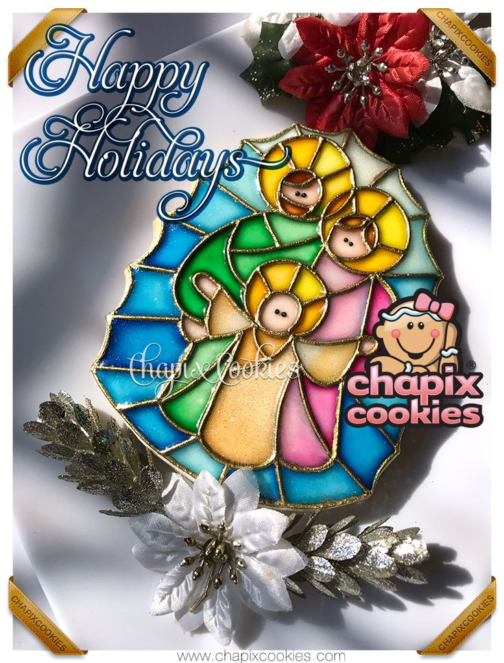 The Holy Family, our most recent stained glass decorated cookie. Happy Holidays!!  La Sagrada Familia, nuestra más reciente galleta decorada con técnica de vitral. ¡Felices fiestas!!