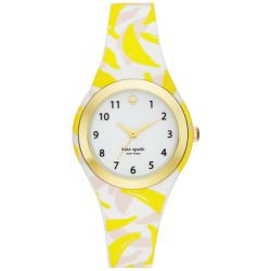 Kate Spade New York Women's Rumsey Banana Print Silicone Strap Watch
