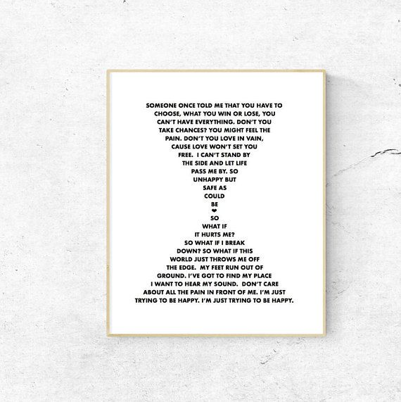 """Leona Lewis fans, or happy strong people alike adore this hourglass shaped lyrical display!  Modern, minimalistic, cute wall art!  THIS IS AN INSTANT DIGITAL DOWNLOAD.  NO PHYSICAL PRINT INCLUDED.  Print at home, your local print shop (Staples, Walmart, Costco, etc) or upload to an online printing service. Great for framing and gifting or adding some positivity to your space. INCLUDED FILES  International Paper size A5 which can easily be scaled to fit A4, A3, A2, A1 and 5x7  8.5""""x11"""" for…"""