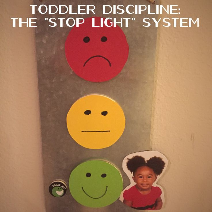 """Toddler Discipline: The """"Stop Light"""" System... My 2-year old (27 months) gets her photo placed next to the stop light color that corresponds with her behavior... Red = Very naughty; Yellow = Mild disobedience; Green = Amazing Day!"""
