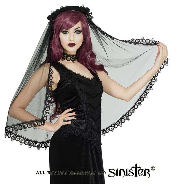 Sinister Raelene sluier met hoofd accessoire en kanten afwerking zwart