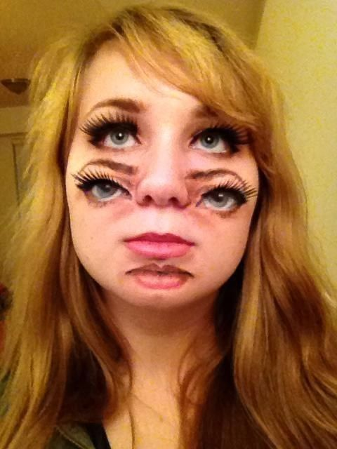 Double face. | 33 Totally Creepy Makeup Looks To Try This Halloween