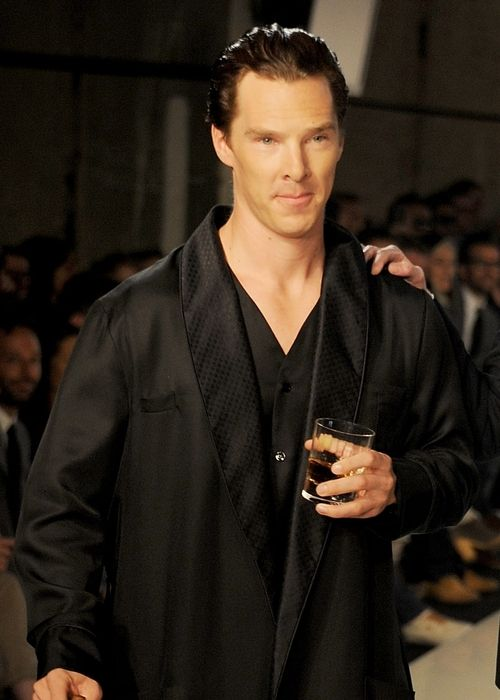 Benedict Cumberbatch in jammies, says he was going for a young Hugh Hefner. Video: http://www.dailymotion.com/video/xrk4n1_benedict-cumberbatch-s-modelling-debut-at-spencer-hart-show_lifestyle