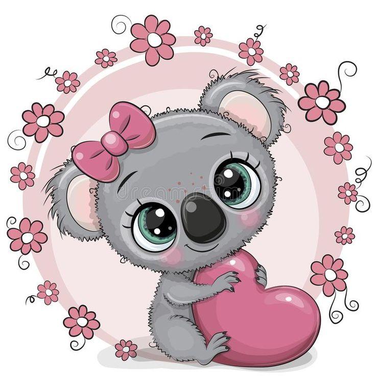 Cute Cartoon Koala with heart. Greeting card Cute cartoon ...
