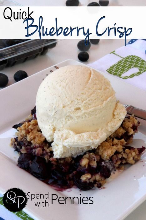 Quick Blueberry Crisp!  This delicious dessert is perfect for summer or winter!