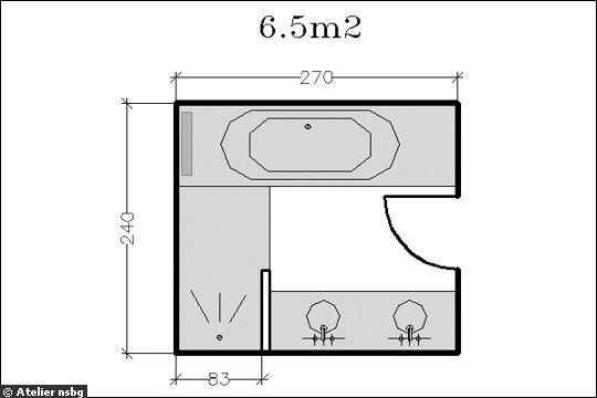 Surface de 6.5m² : de larges coins d'eau - 18 plans de salle de bains de 5 à 11 m² - CôtéMaison.fr déplace le bain vers la gauche pour ajouter une toilette