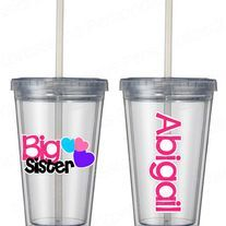 BIg Sister cup!  120z- kid size tumbler Cute sibling gift  www.mboston9.storenvy.com