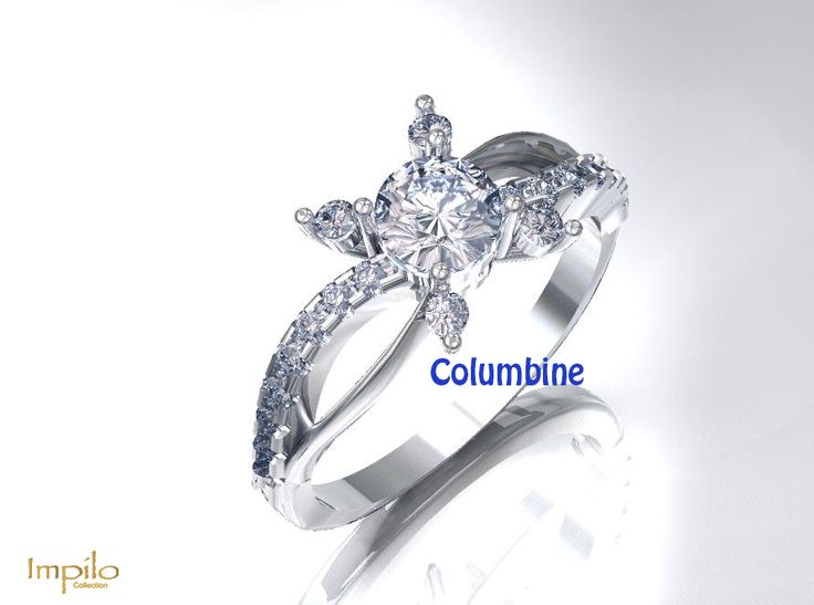 """""""Columbine"""" - This stunning engagement ring has one round brilliant cut diamond with one smaller diamond by each claw, and diamonds on each twisted shank."""
