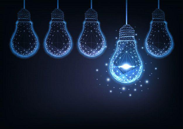Futuristic Raw Of Glowing Low Polygonal Electric Light Bulbs On Dark Blue Background Dark Blue Background Blue Backgrounds Electric Lighter Low light hd wallpaper download