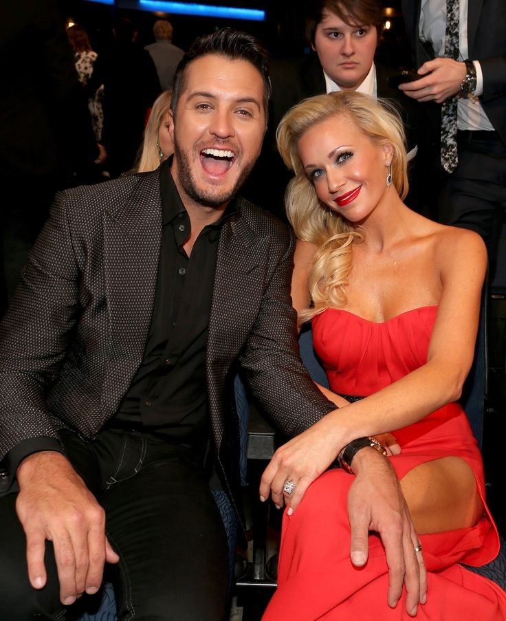 Luke Bryan and Caroline Boyer at the American Music Awards #AMAs2014