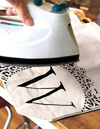 Craft Ideas - How to Make Your Own Personalized Tote Bag; Use paintbrush with scribble paint; after dry iron 20 - 30 seconds to set paint